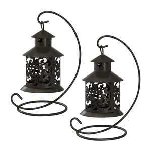 Tabletop Metal Lantern, Black, 2pk