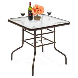 Best Choice Products 32in Square Tempered Glass Outdoor Patio Dining Bistro Table w/ Umbrella Hole, Steel Frame