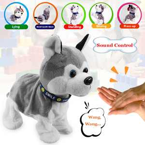 Electronic Pet Plush Robot Dog Sound Control Interactive Bark Stand Walk Movements Kids Birthday Gifts Educational Toy