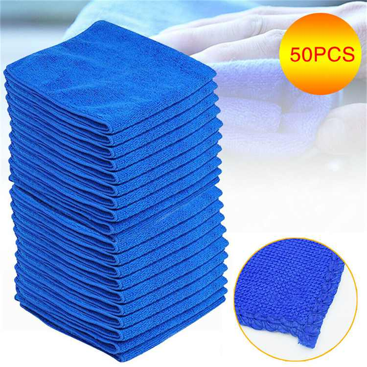 50pcs Microfiber Cleaning Cloth No-Scratch Rag Car Polishing Detailing Towel for Auto Shops Mechanics, And Car Wash