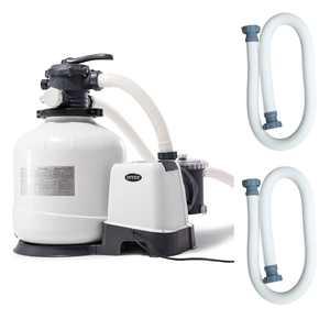 Intex 3000 GPH Above Ground Pool Sand Filter Pump w/ 1.5 Inch Pump Hose (2 Pack)