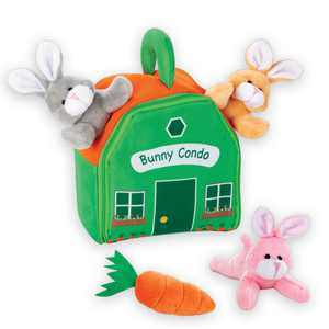 Colorful Plush Bunny Condo Set - 5 Pieces - 3 Soft, Cuddly Plush Bunnies, Oversized Carrot, Condo Home - Zipper Front Condo - Handle for Easy Carrying - Polyester