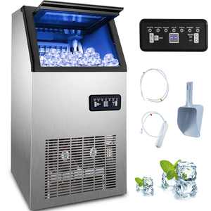 VEVOR Commercial Ice Maker 150lbs/24h with 26lbs Storage 5x9 Cubes Stainless Steel Auto Clean