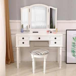 Zimtown Tri-Folding Mirror Vanity Set Makeup Dressing Table with Cushioned Stool & 5 Storage Drawer Wood Furniture (White)
