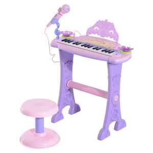 Qaba 32 Key Electronic Kids Keyboard With Stool And Microphone- Pink / Purple