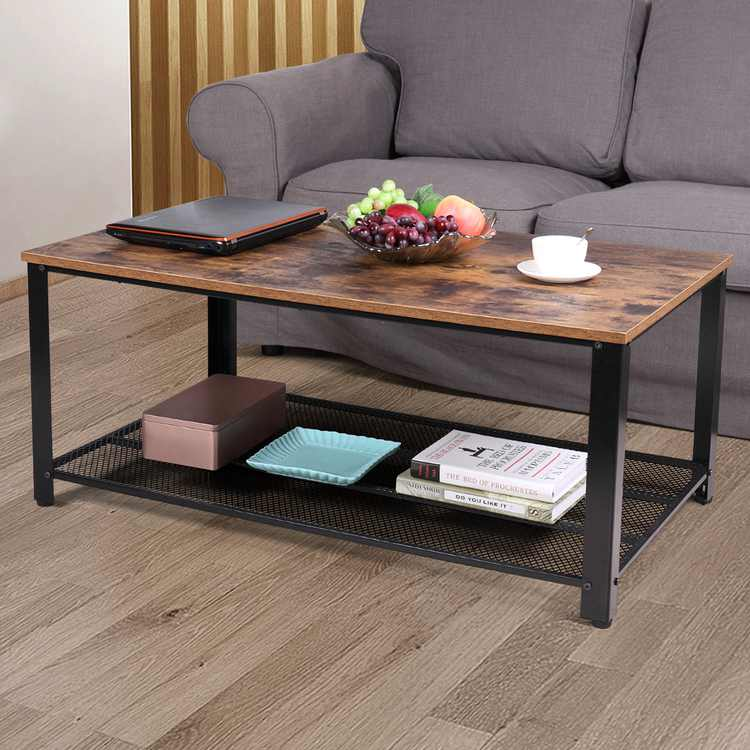 Jaxpety 2-Tier Cocktail Wood Coffee Table Rectangular Living Room Furniture w/ Storage Shelf
