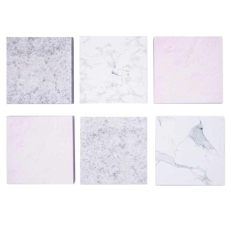 6 Pack White Marble Sticky Note Pads for Office Supplies, Cute Adhesive Reminders, 100 Sheets, 6 Designs, 3.5 in