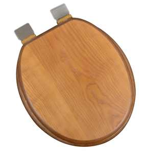 BathDecor Dark Brown Oak Wood Decorative Finish Round Front Toilet Seat with Adjustable Release 'N' Clean Brushed Nickel Hinge