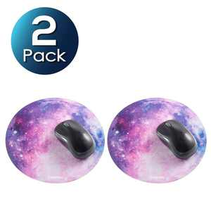 "Insten 2-pack Galaxy Mouse Pad Mat for Computer Laptop Gaming Home Office Galactic Space Design Round Anti-Slip Backing and Silky Smooth Surface 2mm Ultra Thick Diameter: 8.46"" - Purple Nebula"