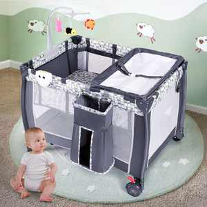 Costway Foldable Travel Playard with Bassinet, Gray
