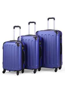 Jaxpety 3 PCs Travel Luggage Set Hardside Travel Trolley Rolling Suitcase ABS+PC, Dark Blue