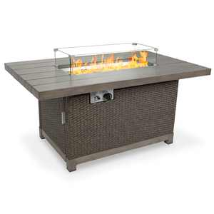 Best Choice Products 52in 50,000 BTU Wicker Propane Fire Pit Table w/ Aluminum Top, Wind Guard, Cover, Glass Beads