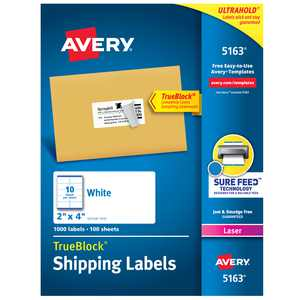 "Avery Shipping Labels, Sure Feed, 2"" x 4"" 1,000 White Labels (5163)"