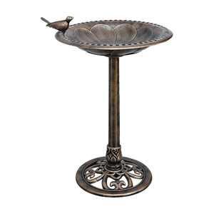 Bronze Plastic Resin Bird Bath with Decorative Base
