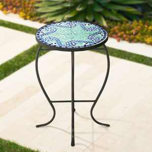 Teal Island Designs Ocean Wave Mosaic Black Iron Outdoor Accent Table