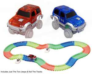 Magic Twister Glow In the Dark Race Tracks - 2pc Jeep Vehicle Light Up LED Cars - Add On Accessory