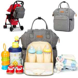 Multifunctional Hot Large Capacity Mummy Baby Maternity Diaper Bag Nappy Changing Bag Travel Backpack Mummy Bag (Gray)