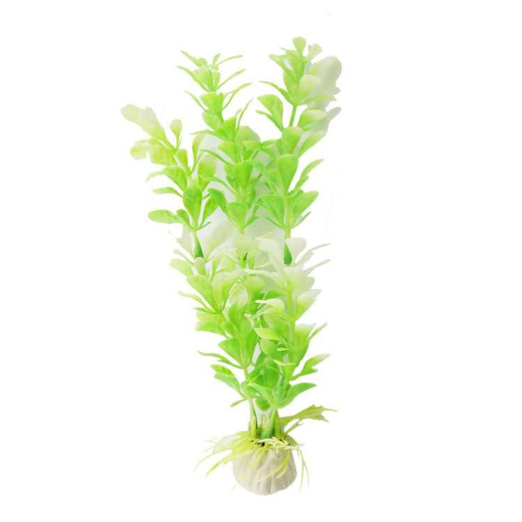 """Aquarium Manmade Green White Plastic Water Plant Decor 7.1"""" 2 Pcs Aquarium Plants"""