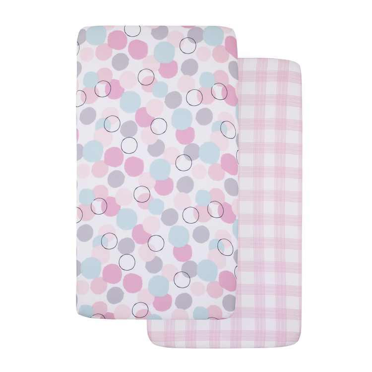 Little Love by NoJo Pink Bubble Dot 2 Piece Fitted Crib Sheet Set - 1 Pink Buffalo Check Print, 1 Pink, Aqua, Grey and Raspberry Bubble Dot Print