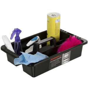 Plastic Storage Tray Tote- Versatile Multiuse Caddy with Attached Portable Handle by Stalwart