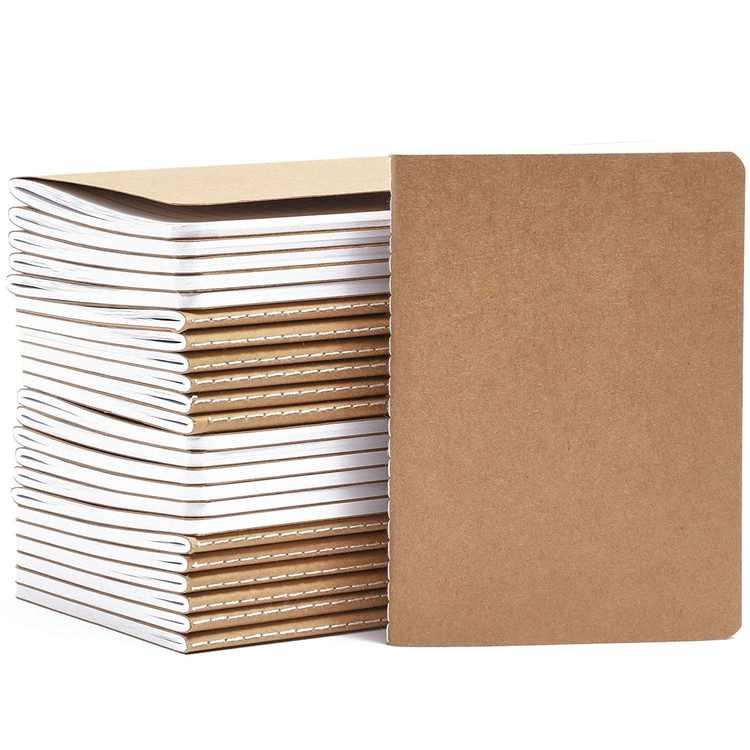 "24-Pack Kraft Journal Bulk, Lined Pocket Notepad for Traveler & Diary, A6 Size, 4.1"" x 5.7"""