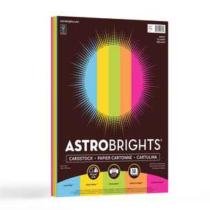 "Astrobrights Colored Cardstock, 8.5"" x 11"", 65 lb. ""Bright"" 5-Color Assortment, 50 Sheets"