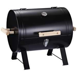 """Outsunny 20"""" Mini Small Smoker Charcoal Grill Side Fire Box, Portable Outdoor Camping Barbecue Grill with Wooden Handles"""