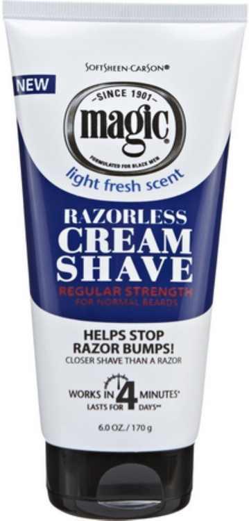 4 Pack - Magic Shave Razorless Cream Shave, Light Fresh Scent, Regular Strength 6 oz