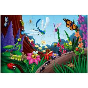 48-Piece Jumbo Floor Puzzles for Kids Age 3-6, Garden Bugs & Insects Giant Jigsaw Puzzle, Large 2 x 3 Feet