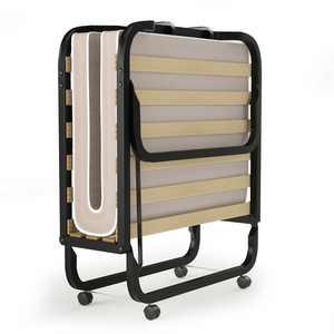 Gymax Folding Bed w/ Memory Foam Mattress Rollaway Metal Guest Bed Sleeper Made in Italy