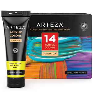 ARTEZA Acrylic Professional Artist Paint, 120ml Pouches, Set of 14