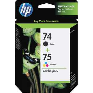 HP 74/75 Ink Cartridges - Black, Tri-color, 2 Cartridges (CC659FN)