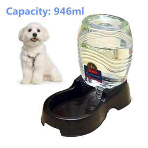 946ml Capacity Dog Cat Pet Water Dispenser Station, Auto Replenish Gravity Waterer Drinking Bottle Bowl Dish Portable Stand