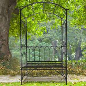 """Outsunny 80"""" Steel Garden Arbor with Bench Seat - Black"""