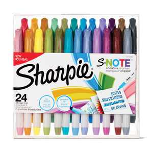Sharpie S-Note Creative Markers, Assorted Colors, Chisel Tip, 24 Count