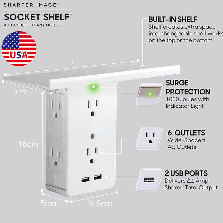 Socket Shelf- 8 Port Surge Protector Wall Outlet 6 Extender Outlet 2 USB Port