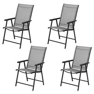 Clearance! 4 Packs Patio Folding Chairs, Heavy Duty Folding Arm Chairs, Outdoor Portable Chairs with Armrest, Sling Back Chairs for Indoor Outdoor Lawn Beach Camping, 260lbs Weight Capacity, B922
