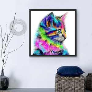 DIY Cartoon Animal Crystal Cross Stitch Colorful Cat Needlework 5D Rhinestones Embroidery Diamond Painting