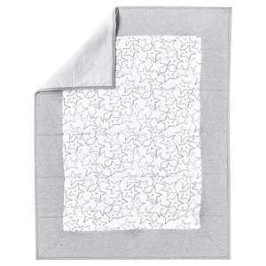 Little Star Organic 100% Pure Organic Cotton Reversible Quilt, Gray-Little Dreamer