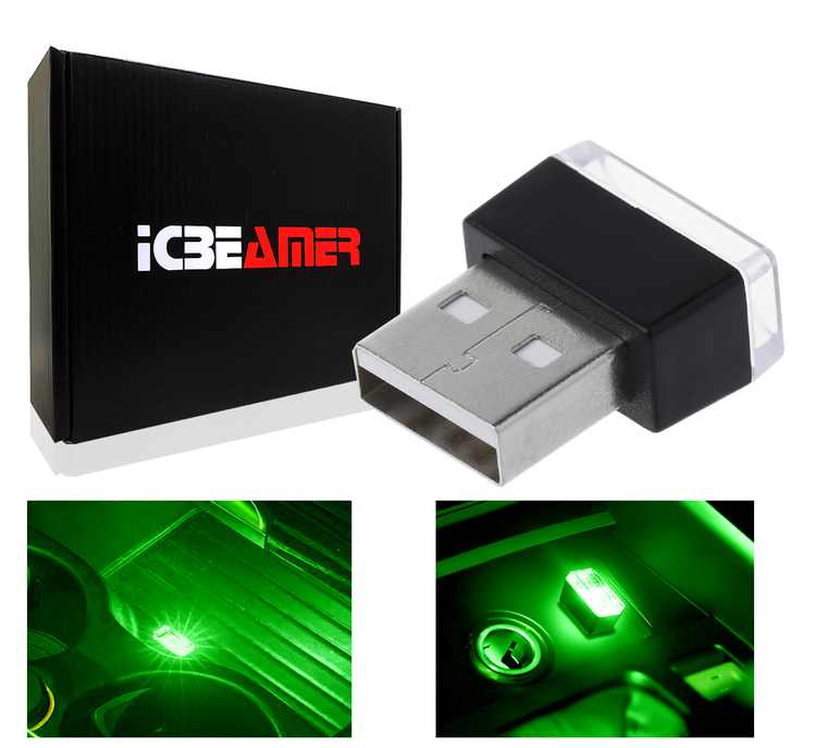 ICBEAMER 1pc Green Universal USB Interface Plug-In Miniature Night light LED Car Interior Trunk Ambient Atmosphere