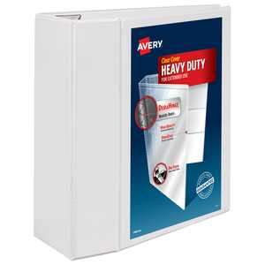 """Avery Heavy-Duty View 3 Ring Binder, 5"""" One Touch EZD Ring, Holds 8.5"""" x 11"""" Paper, White (79106)"""