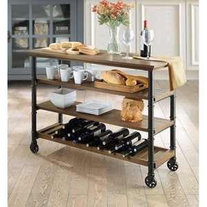 Whalen Santa Fe Industrial Style Kitchen Cart with large open shelves and an optional wine rack