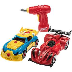 Prextex 4 in 1 Build Your Own Racer Car Set With Real Working Drill