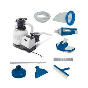 Intex 2100 GPH Above Ground Pool Sand Filter Pump w/ Deluxe Pool Maintenance Kit