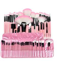 Zodaca Superior Makeup Brush Kit Set for Powder Foundation, Eye Shadow, Eyeliner, and Lip with Pink Cosmetic Pouch Bag, 32 Pcs