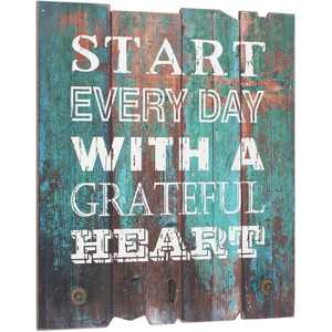 Stonebriar Rustic Wooden Turquoise Painted Grateful Heart Wall Art with 3 Decorative Hooks