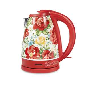 The Pioneer Woman Electric Kettle, Vintage Floral Red, 1.7-Liter, Model 40972