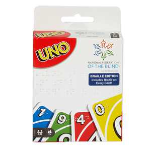 Uno Braille Family Card Game For Blind And Low Vision Players, Ages 7Y+