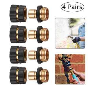 EEEkit 3/4'' No-Leaks Pressure Washer Garden Hose Quick Connect Set, Garden Hose Fitting Quick Connector Male and Female Set, 4 Male Connects + 4 Female Connects - Water Hoses Quik Connect Release