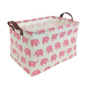 "HIYAGON Storage Bins Pink for Baby, Kids or Pets - 15""L x 10""W x 9""H Fabric Collapsible Storage Bin for Organizing Toys, Nursery Basket, Shelf Basket, Gift Baskets ( Rectangular - Pink Elephant )"